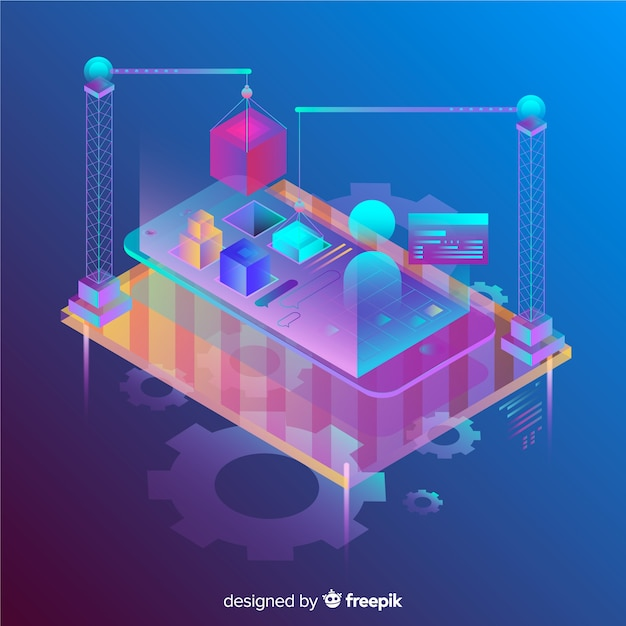 Isometric gradient 3d mobile phone background Free Vector