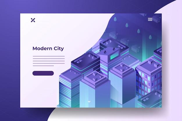 Isometric gradient city at night banner Premium Vector