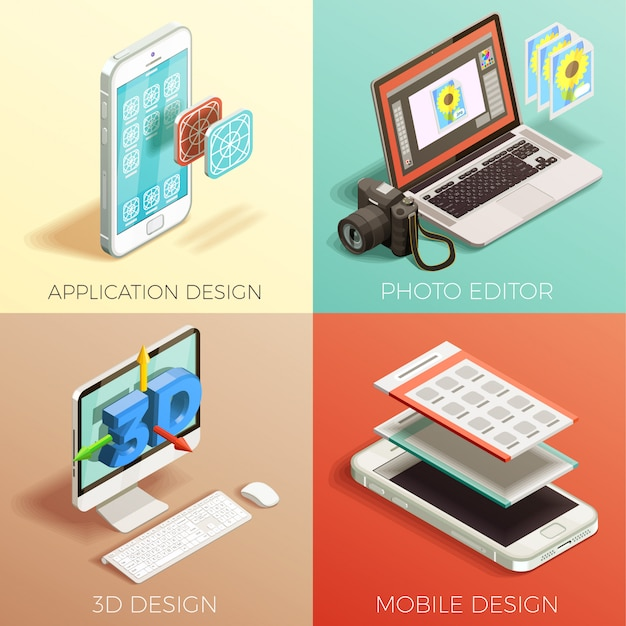 Isometric graphic design set Free Vector