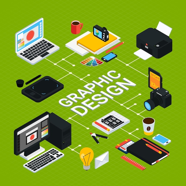 Isometric graphic  infographics with various objects for work such as computer swatches printer tablet pencil 3d Free Vector