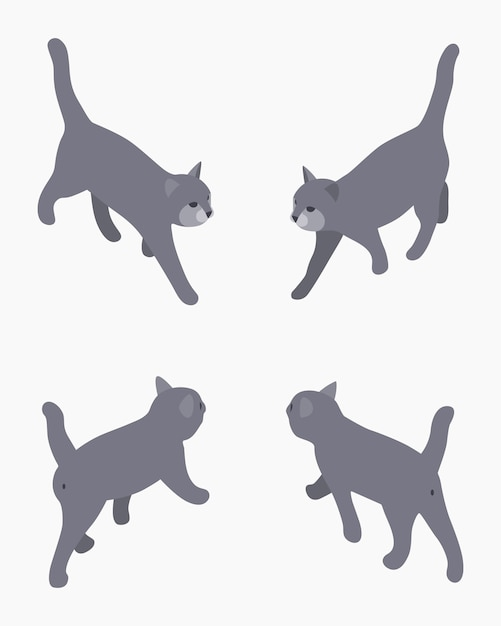 Isometric gray walking cat. Premium Vector