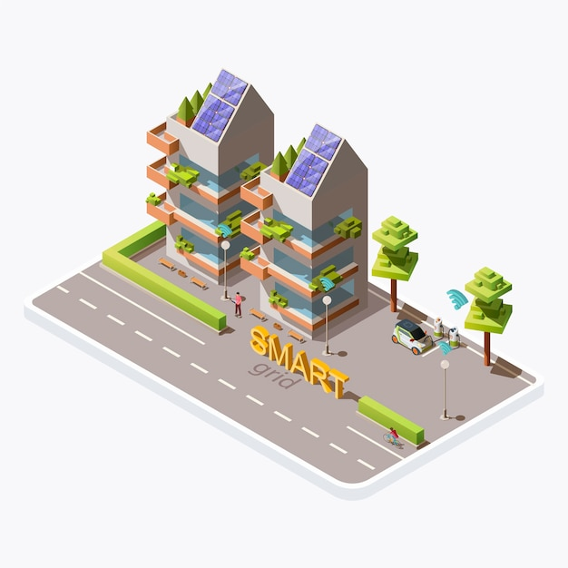 Isometric green eco friendly city building with solar panels on roof, electric car, charging station near road, isolated on background. renewable energy, smart grid technology concept Free Vector