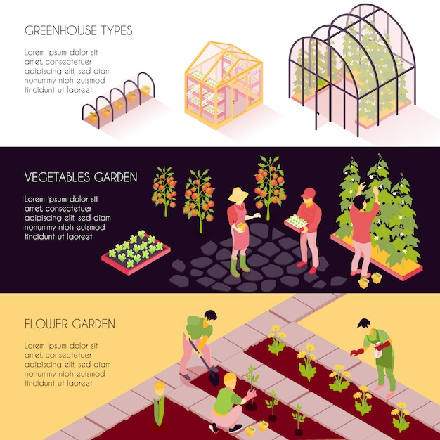 Isometric greenhouse banners Free Vector