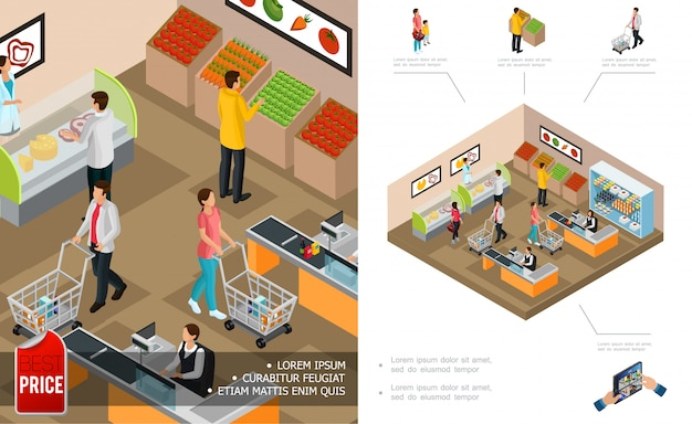 Isometric grocery shopping composition with cashiers customers pushing carts and buying different products Free Vector