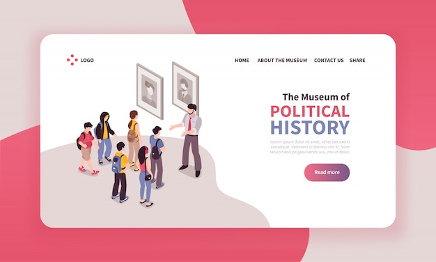Isometric guide excursion landing page design with clickable text links and view of museum excursion group Free Vector