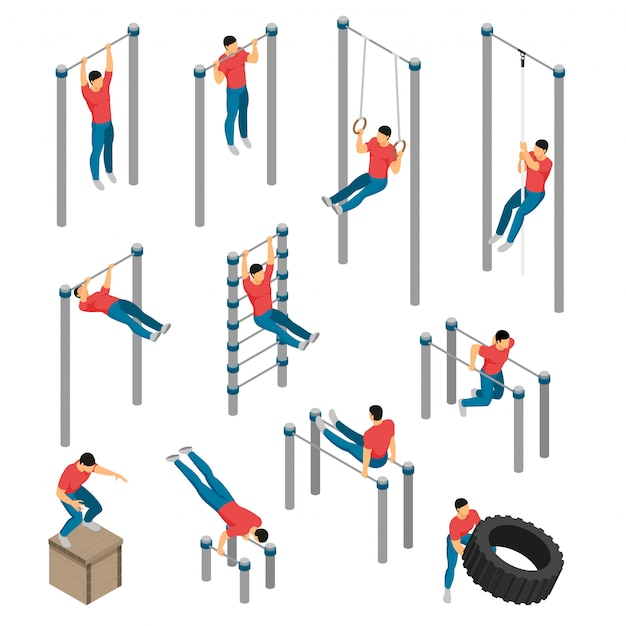 Isometric gym equipment workout set with images of gymnastic apparatus and male human character doing sports Free Vector
