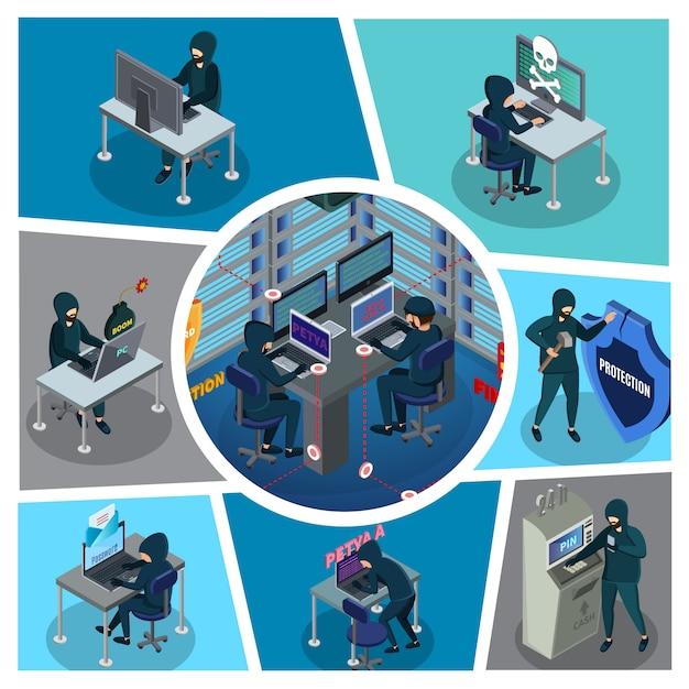 Композиция изометрической активности хакеров с серверами банкоматов кибер-воров в сломанном щите центра обработки данных Бесплатные векторы
