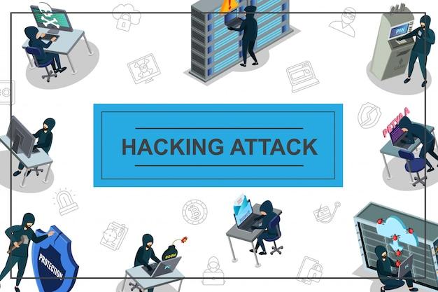コンピューターメールサーバーデータセンターatmおよびインターネットセキュリティアイコンのハッキングと等尺性ハッカー活動構成 無料ベクター