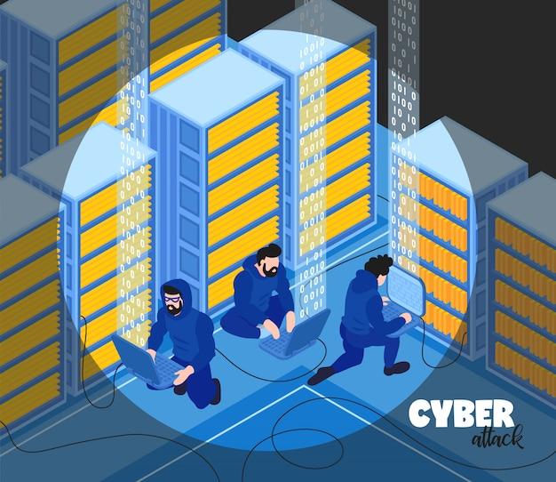 La composizione isometrica nel pirata informatico con testo e la vista dei pirati informatici raggruppano i caratteri umani con l'illustrazione di vettore degli scaffali del server Vettore gratuito