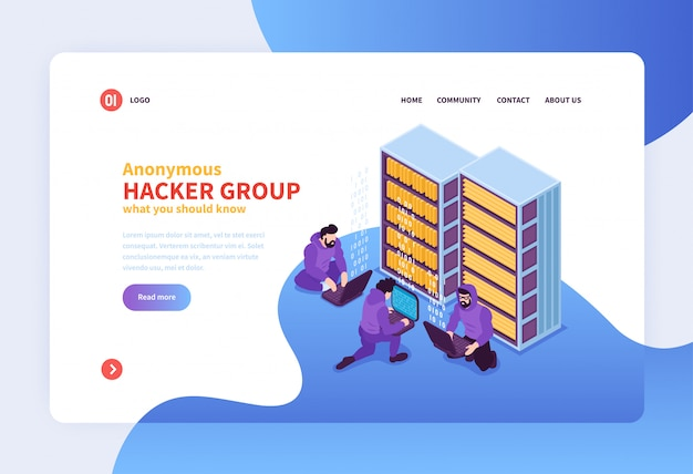 Isometric hacker concept web page design landing page with anonymous hacking group images clickable links and text vector illustration Free Vector
