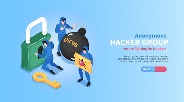 Isometric hacker horizontal banner with editable text slider button and conceptual images of locks bugs viruses vector illustration Free Vector