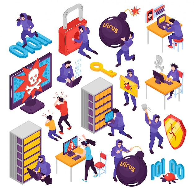 Isometric hacker set with isolated conceptual images with pictogram icons images of computer peripherals and people vector illustration Free Vector
