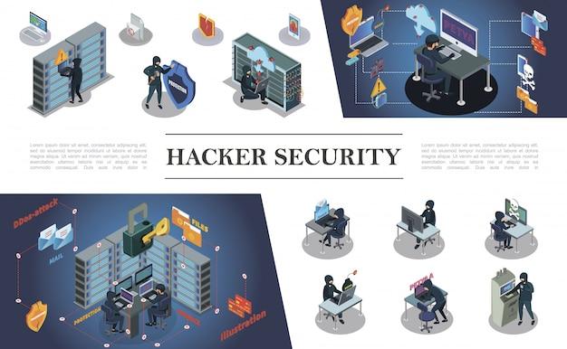 Composizione di attività di pirateria informatica isometrica con hacker che commettono diversi crimini informatici e informatici Vettore gratuito
