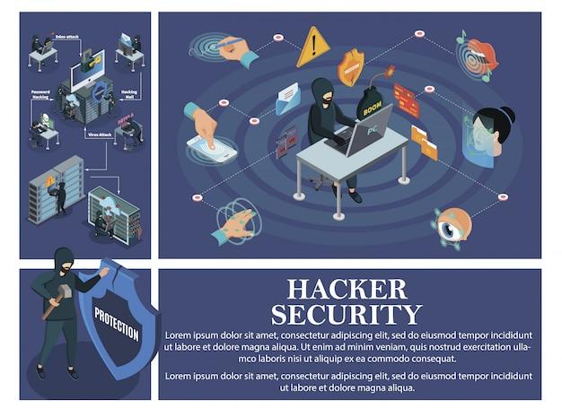Composizione di attacchi di hacking isometrica con elementi di sicurezza dell'identificazione biometrica e hacker che rompono i server cloud dei data center dei personal computer Vettore gratuito