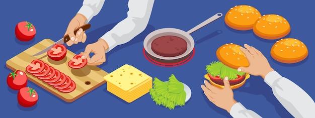 Hamburger isometrico che fa bandiera con ingredienti di insalata di formaggio panino di carne e processo di taglio di pomodori isolato Vettore gratuito