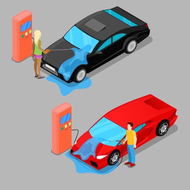 Isometric hand car wash. driver washing car Premium Vector