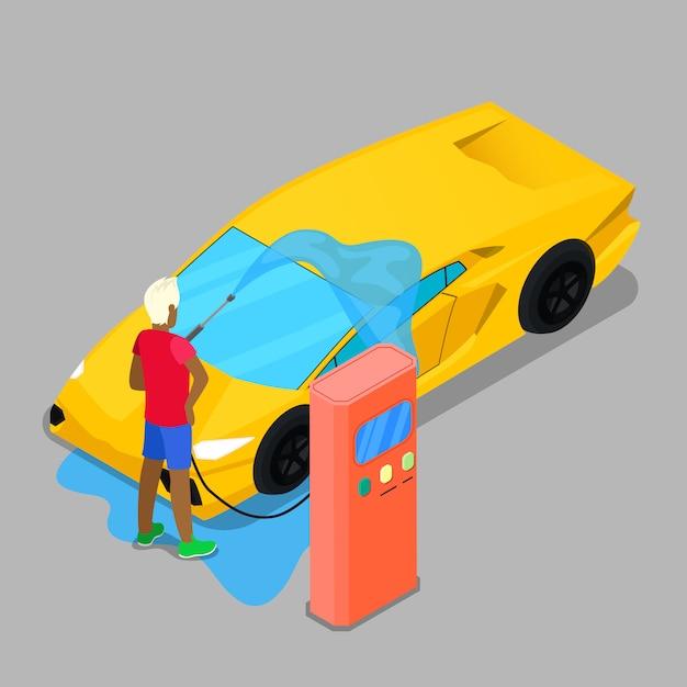 Isometric hand car wash. driver washing car Premium Vector