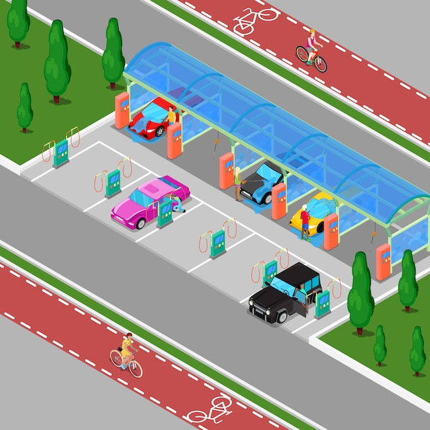 Isometric hand car wash with vacuum cleaners. driver washing car Premium Vector