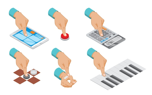 Изометрическая рука указывает жест, установленный с помощью кнопки, планшета, сенсорного калькулятора, подсчета штукатурной пасты, пианино, шашки, играющей изолированно Бесплатные векторы