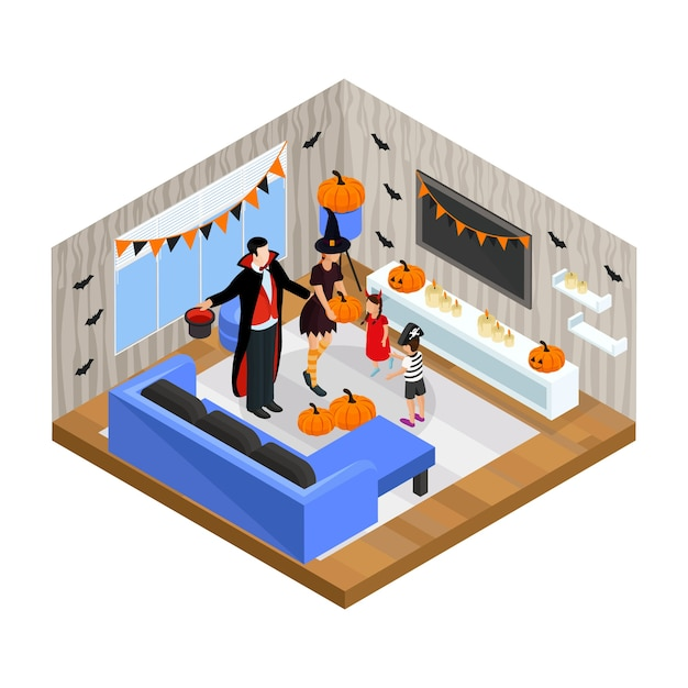 Isometric happy halloween celebration concept with family wearing festive costumes celebrate holiday at home isolated Free Vector