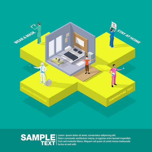 Isometric health medicine protection coronavirus horizontal flowchart composition with text captions and icons of symptoms with people vector illustration. Premium Vector