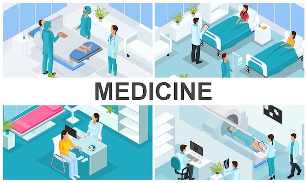 Изометрические здравоохранения красочная композиция с врачами посещение пациента в больнице палаты хирургии медицинской консультации магнитно-резонансной томографии Бесплатные векторы