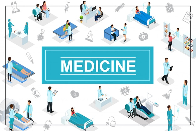 Isometric healthcare composition with doctors patients medical consultation diagnostic procedures pharmacy laboratory research medicine icons Free Vector