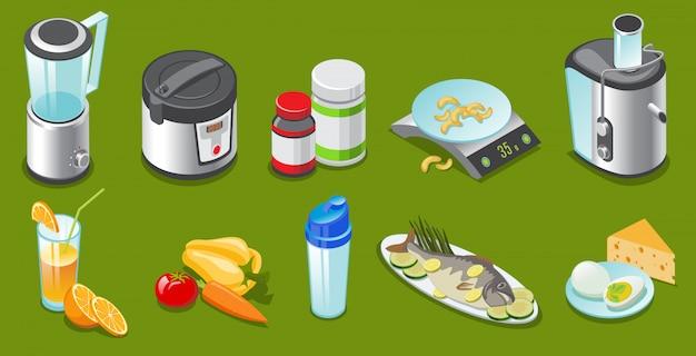 等尺性の健康的なライフスタイルの要素がブレンダーの遅い炊飯器ビタミンセットジューサー野菜ジュースシェーカー魚卵チーズ分離 Premiumベクター
