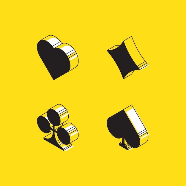 Изометрические сердца, плитки, клевер и пики, игральные карты знаки на желтом Premium векторы