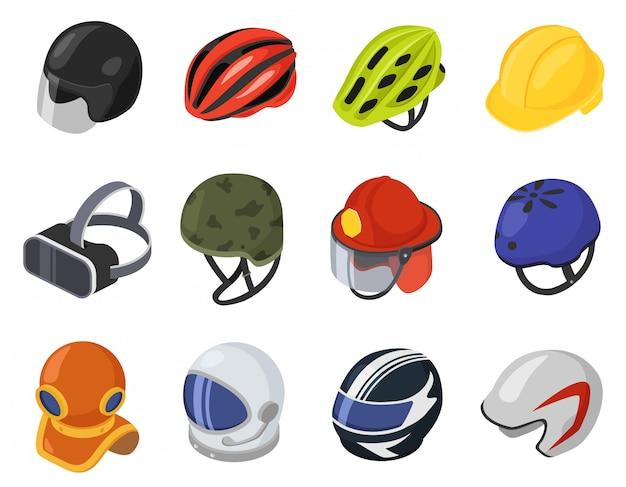 Isometric helmet  illustration, cartoon 3d safety hard hat, head protection, vr helmet icon set isolated on white Premium Vector