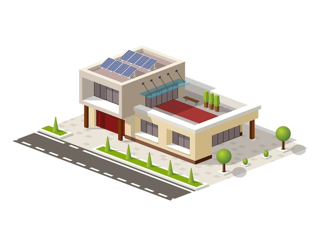 Isometric high-tech house with solar panels Premium Vector