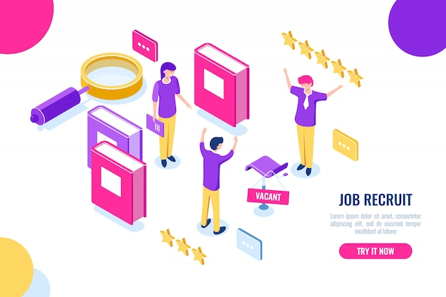 Isometric hire and recruit worker concept, vacant place, hr human resources, personnel assessment Free Vector