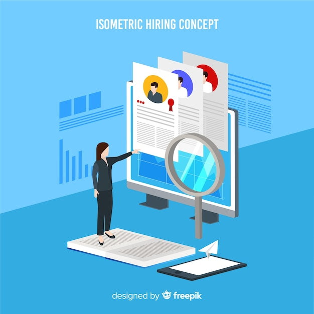 Isometric hiring background Free Vector