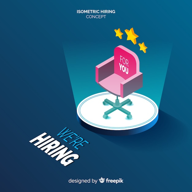 Isometric hiring concept background Free Vector