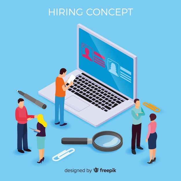 Isometric hiring concept Free Vector