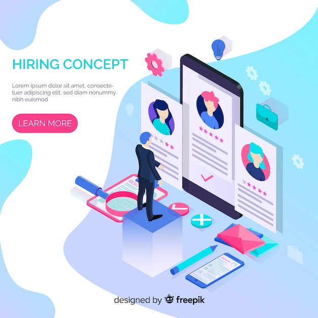 Isometric hiring concept Free Vector