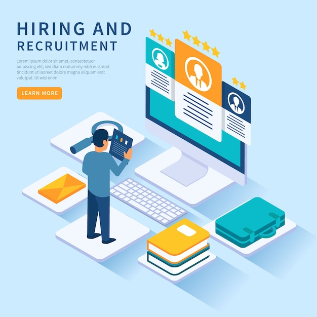 Isometric hiring illustration template Free Vector