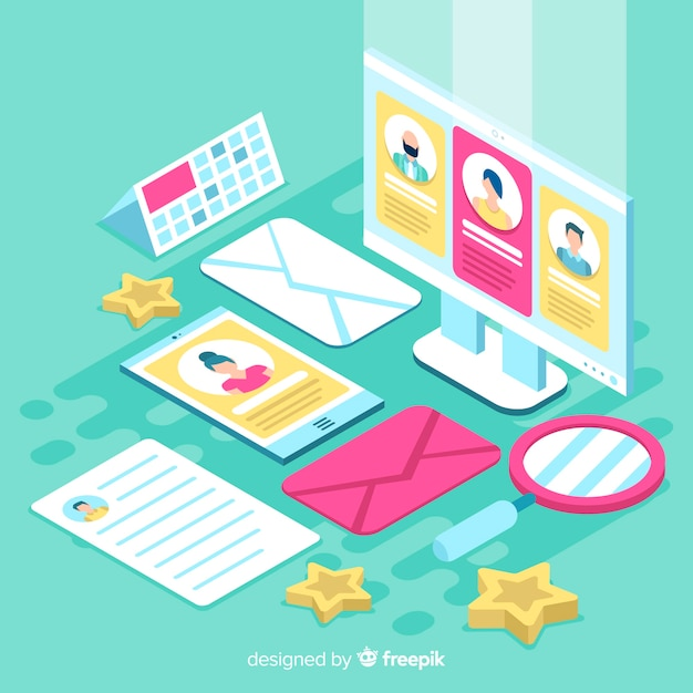 Isometric hiring illustration Free Vector