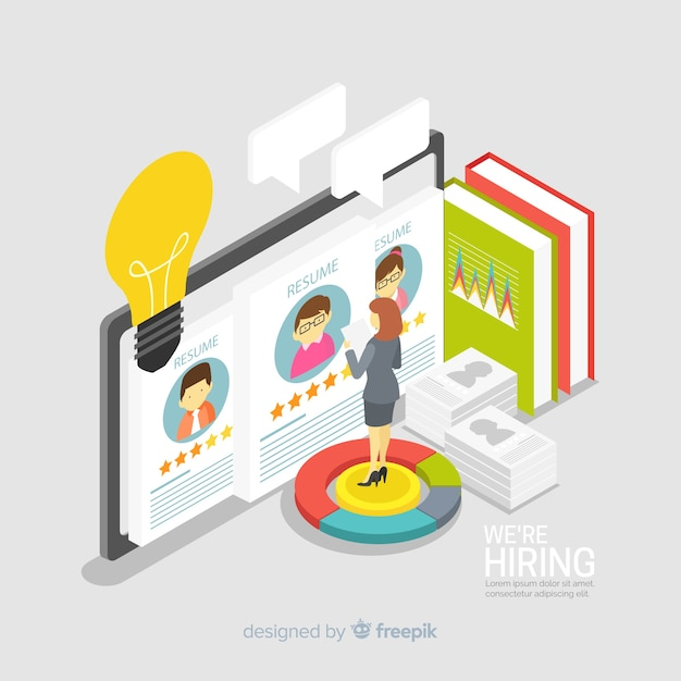 Isometric hiring illustration Free Vector