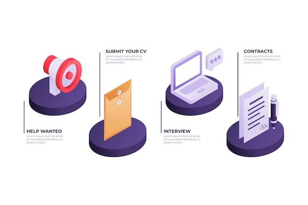 Изометрическая концепция процесса найма Premium векторы