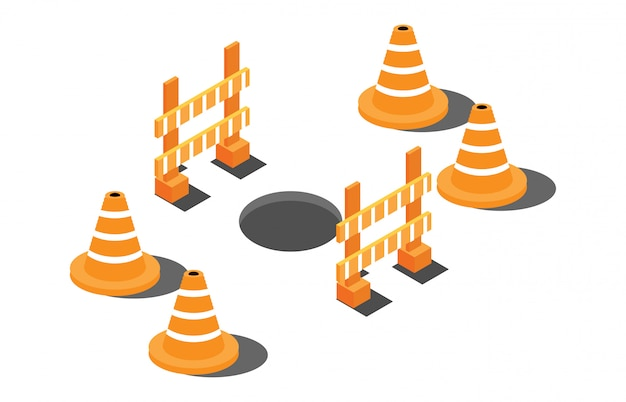 Isometric hole on a highway with warning signs Premium Vector
