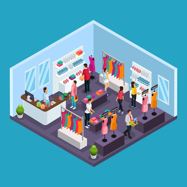 Isometric holiday shopping template with people buying garments and costumes in clothing store isolated Free Vector