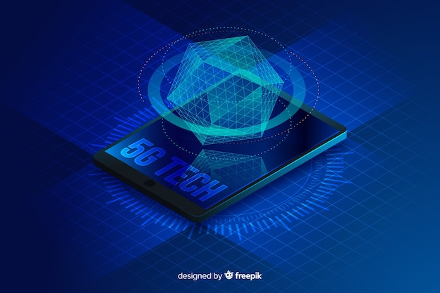 Isometric hologram 5g concept background Free Vector