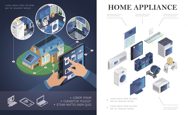 Isometric home appliances composition with air conditioner jalousie music center microwave toaster tv washer tablet stove video surveillance system smart home composition Free Vector