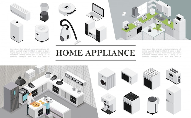 Isometric home appliances composition with father and son cooking pizza on kitchen and different modern domestic appliances and devices Free Vector