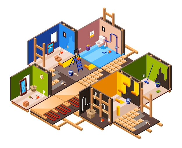Isometric home interior renovation and repair work process stages in house cross section. Free Vector