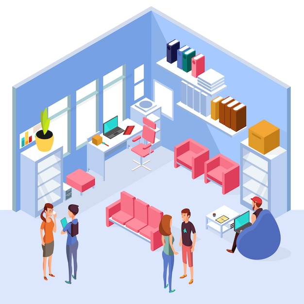 Isometric home office interior. 3d workspace with computer and furniture with people. interior of isometric office room with table and chair illustration Premium Vector