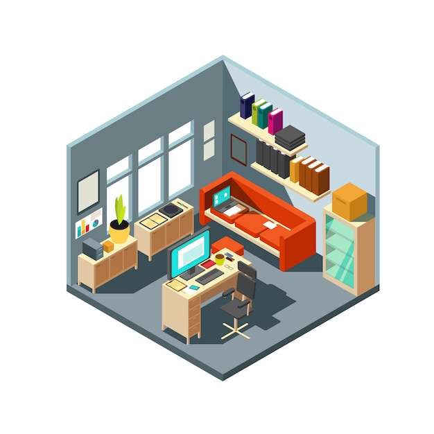 Isometric home office interior. 3d workspace with computer and furniture Premium Vector