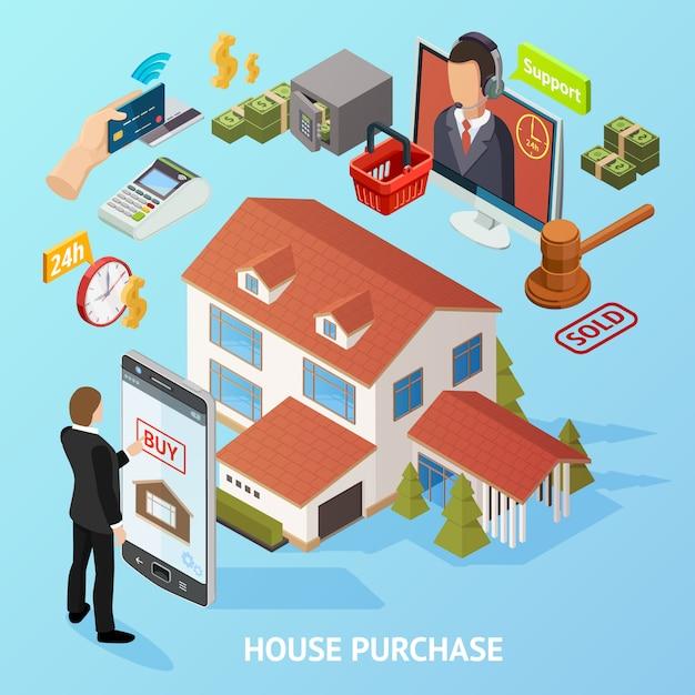 Isometric home purchase background Free Vector