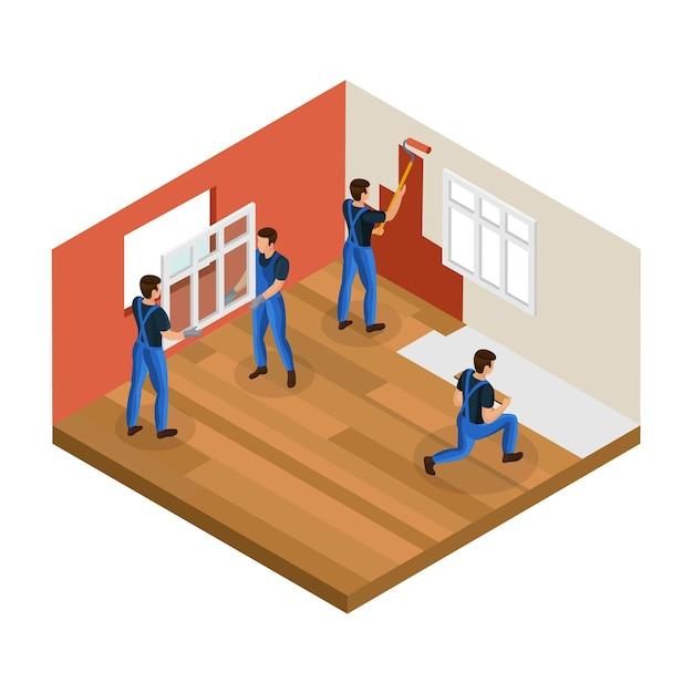 Concetto di ristrutturazione casa isometrica con lavoratori professionisti che installano la parete della pittura della finestra e il pavimento di riparazione nella stanza isolata Vettore gratuito